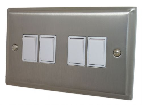 G&H DSN4W Deco Plate Satin Nickel 4 Gang 1 or 2 Way Rocker Light Switch